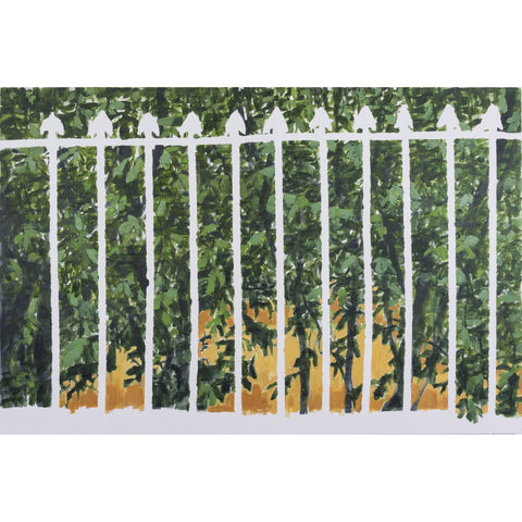 Artwork White spear top fence Drawing by artist Troy Donaghy