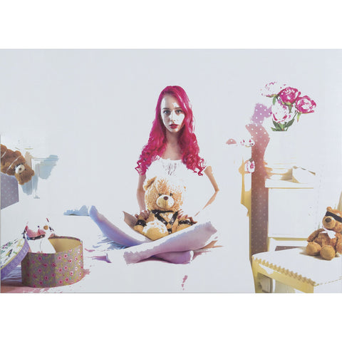 Artwork Over Painted CC0 Teddy with Woman Painting by artist Richard York