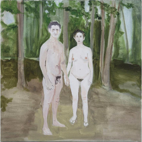 Artwork Husband and Wife at a Nudist Camp (after Diane Arbus) Painting by artist Laura Badertscher