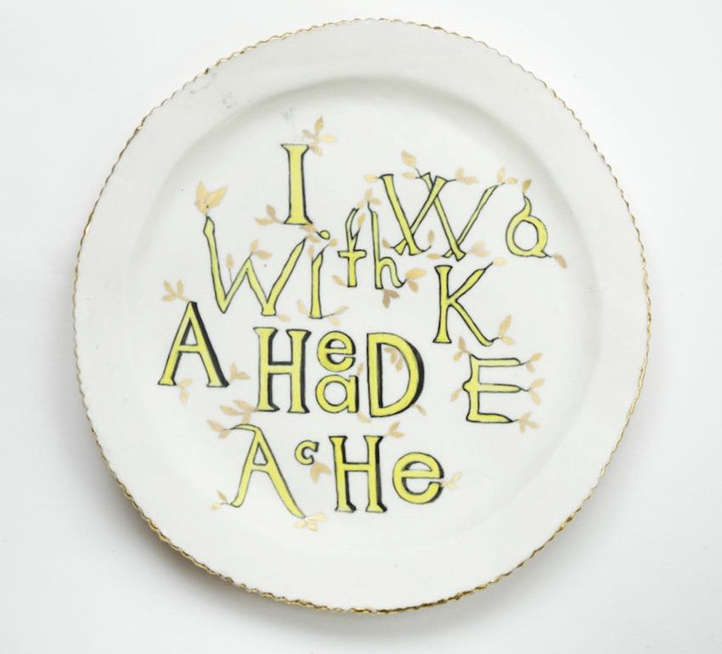 Artwork I woke with a headache plate 2018 Ceramics by artist Sassy Park