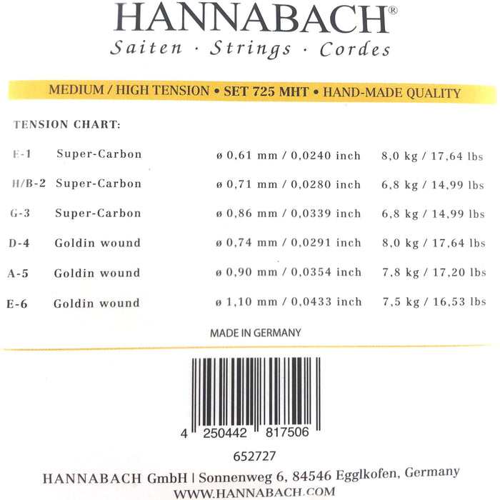 Hannabach Saitensatz für Konzertgitarrensaiten Serie 725MHT Medium/High Tension Goldin