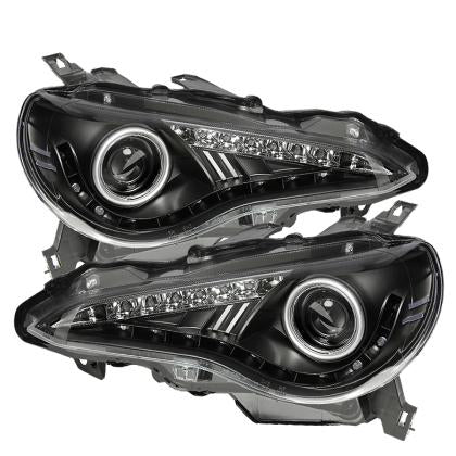 Spyder Projector Headlights- DRL LED Black PAIR (13-14 86/BRZ/FRS)-SAIKOSPEED