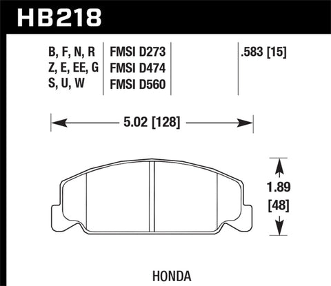 Hawk 88-89 Civic Si / 92-00 Civic CX / 88-00 DX / 98-00 GX HPS Street Front Brake Pads-SAIKOSPEED