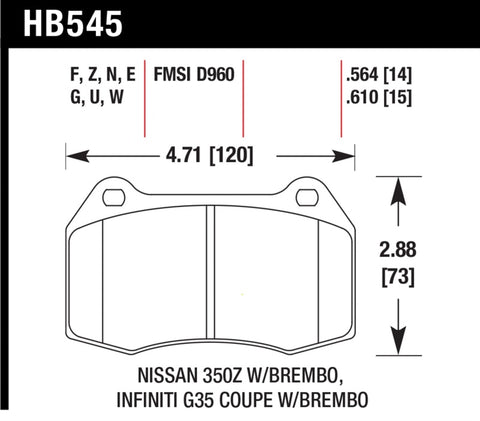 Hawk 03-07 G35/350z w/ Brembo Performance Ceramic Street Front Brake Pads-SAIKOSPEED
