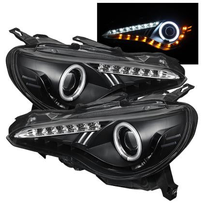 Spyder Projector Headlights CCFL Halo DRL LED Black PAIR (13-14 86/BRZ/FRS)-SAIKOSPEED