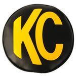 KC HiLiTES 8in. Round Soft Cover (Pair) - Black w/Yellow KC Logo-SAIKOSPEED