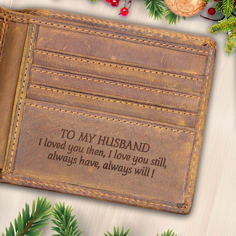 V1717 - I Love You - For Husband Engraved Wallet