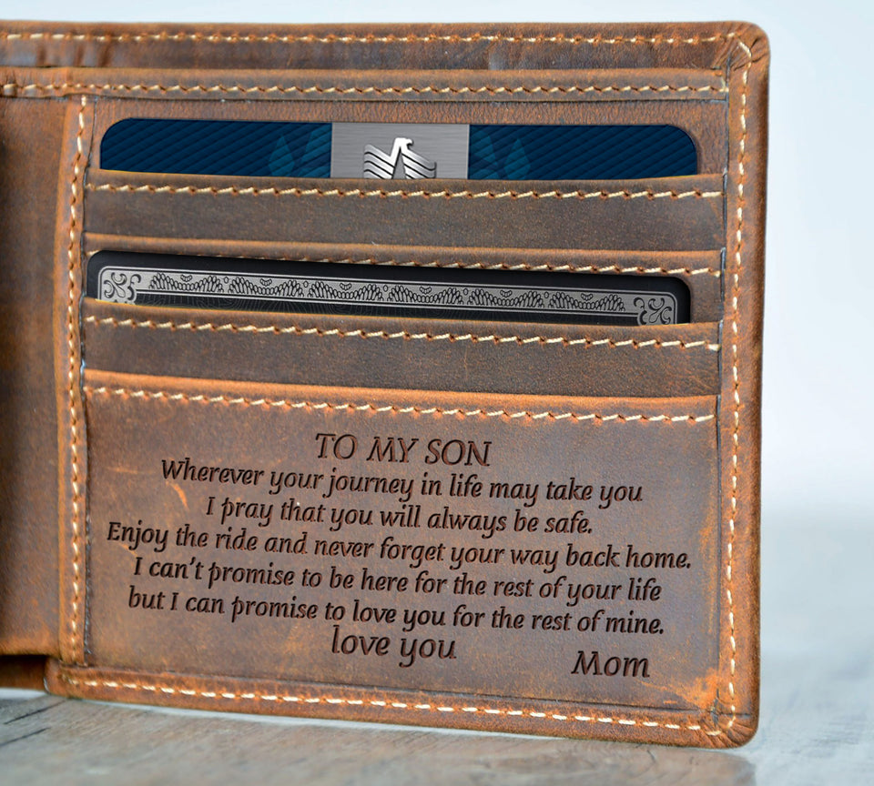 V1726 - Never Forget Your Way Back Home - For Son From Mom Engraved Wallet