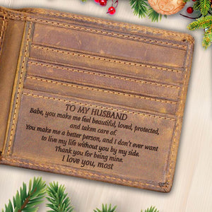 V1738 - The Love Of My Life - For Husband Engraved Wallet