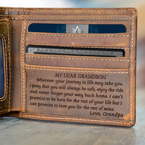 V1776 - My Dear Grandson From Grandpa - For Grandson Engraved Wallet
