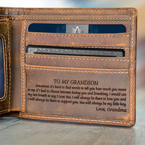V1781 - Always my little boy- For Grandson From Grandma Engraved Wallet