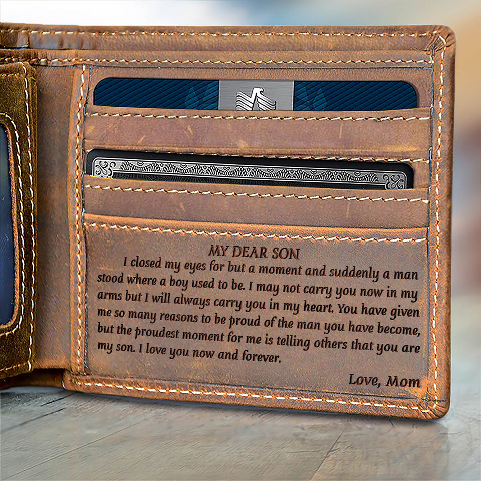 V1783 - Love you now and forever- For Son From Mom Engraved Wallet