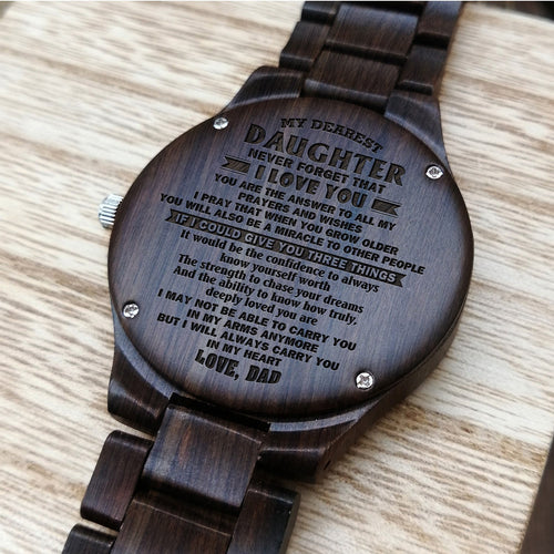 A1675 - Always In My Heart- For Daughter Engraved Wooden Watch