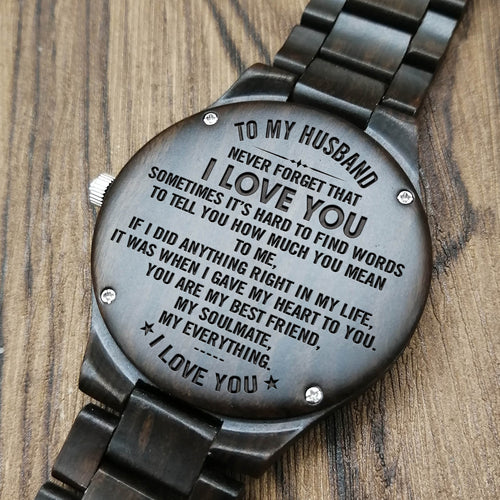 Z1479 - My Soulmate My Everything - For Husband Engraved Wooden Watch
