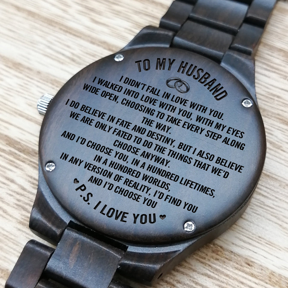 Z1509 - I Do Believe In Fate And Destiny - For Husband  Engraved Wooden Watch