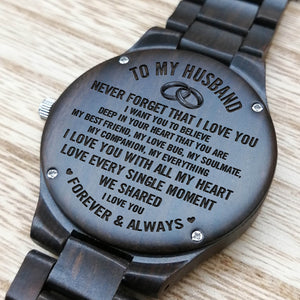 Z1515 - My Love Bug - For Husband  Engraved Wooden Watch