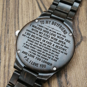 Z1541 - Fate And Destiny - For Boyfriend Engraved Wooden Watch