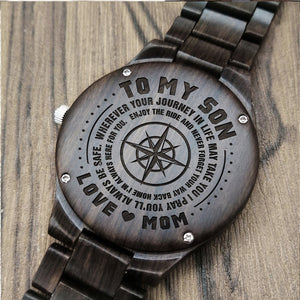 Z1589 - Believe In Yourself - For Son Engraved Wooden Watch