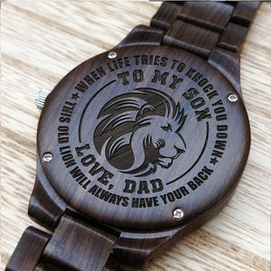 Z1591 - Always Have Your Back - For Son Engraved Wooden Watch