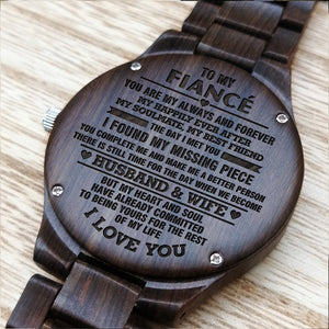 Z1603 - The Day When We Become Husband & Wife - For Fiancé Engraved Wooden Watch