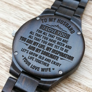 Z1612 - You Are My Life - For Husband Engraved Wooden Watch