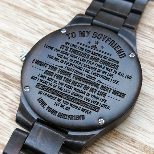 Z1615 - You Are in Every Essence of My Life - For Boyfriend Engraved Wooden Watch