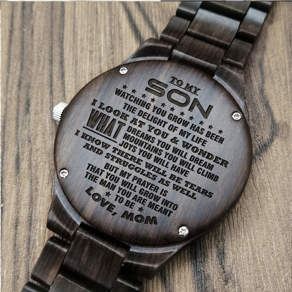 Z1618 - The Delight Of My Light - For Son Engraved Wooden Watch