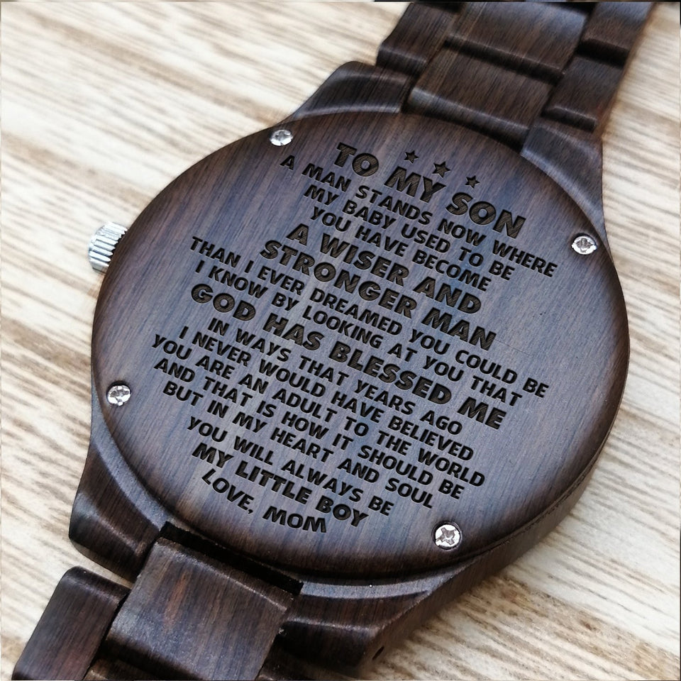 Z1642 - Always Be My Little Boy - For Son Engraved Wooden Watch