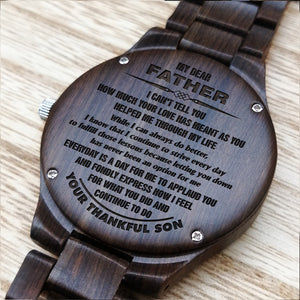 Z1682 - My Dear Father - From Son To Dad Engraved Wooden Watch