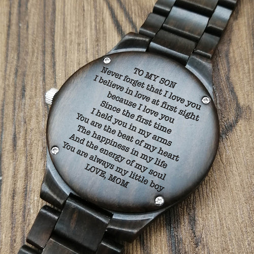 Z1698 - You Are The Beat Of My Heart - For Son Engraved Wooden Watch