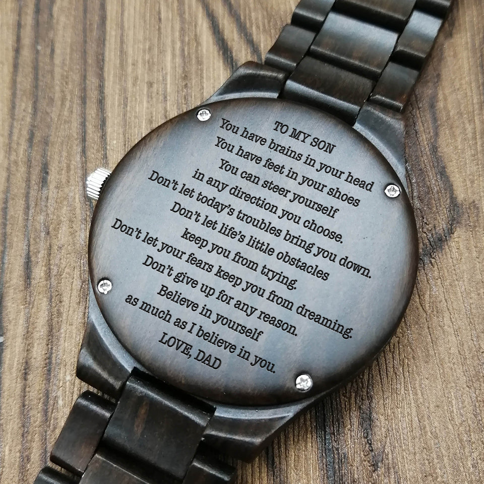 Z1701 - I Believe In You - For Son Engraved Wooden Watch