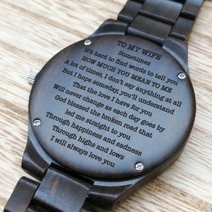 A1702 - God Blessed The Broken road - For Wife Engraved Wooden Watch