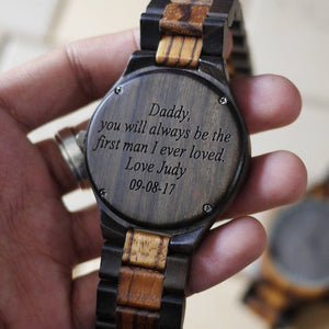 Y23 Custom Engraved Wooden Watch For Men