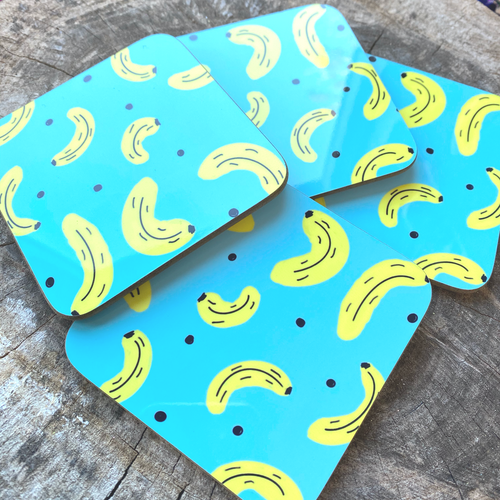 Banana Pattern Coaster - The Argentum Design Co
