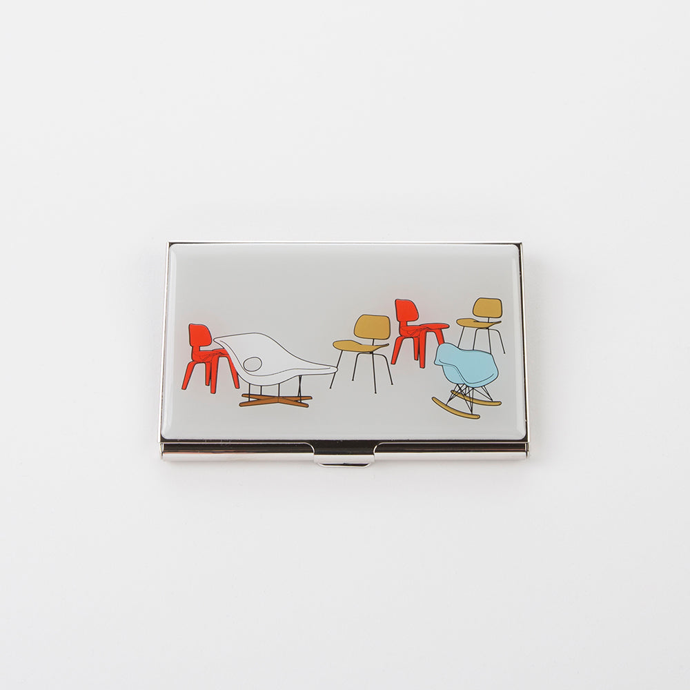 Top view of Eames 'Chair Designs' business card holder