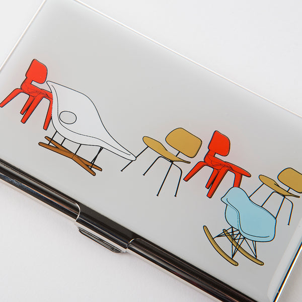 Angled top view of Eames 'Chair Designs' business card holder