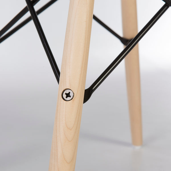 Close up view of mid-section of Maple dowel base for Eames side and arm shells