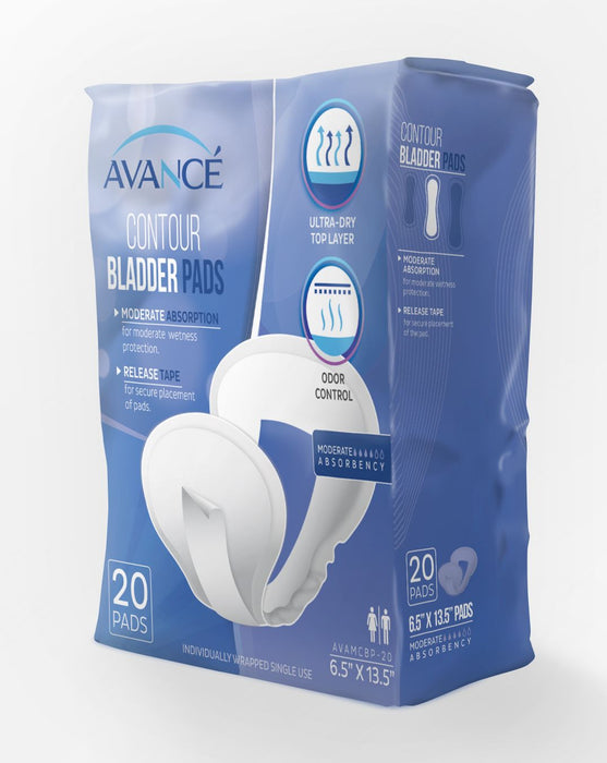 "Avancé Moderate Absorbency 6.5"" x 13.5"" Contour Bladder Pads"