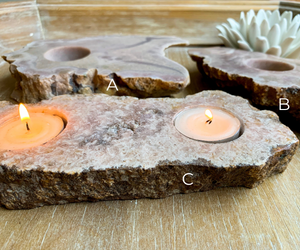 Pink Amethyst Candle Holder