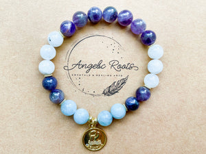 AQUARIUS GOLD EDITION Amethyst, Moonstone, Aquamarine Beaded Bracelet || Reiki Infused