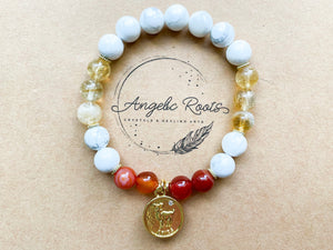 ARIES GOLD EDITION Howlite, Citrine, Carnelian Beaded Bracelet || Reiki Infused