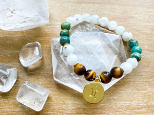 GEMINI GOLD EDITION Moonstone, Chrysocolla, Tiger Eye Beaded Bracelet || Reiki Infused