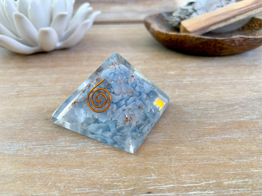 Orgone Angelite Pyramid || Small