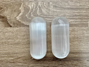 Selenite Harmonizer Pair || Round Edge