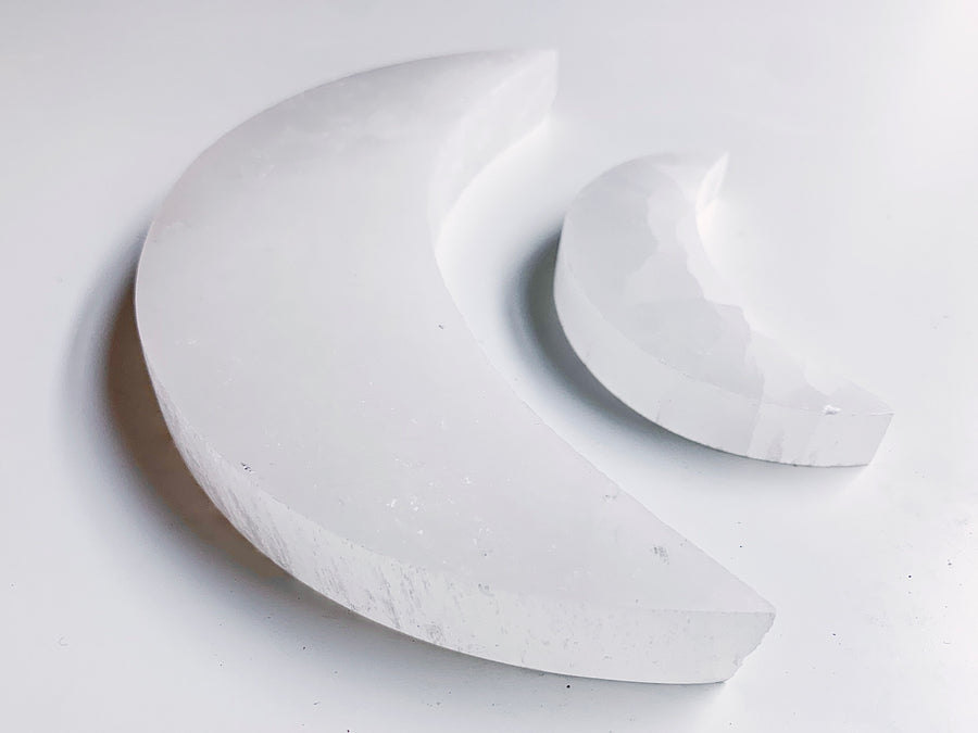 Selenite Flat Moon Plate