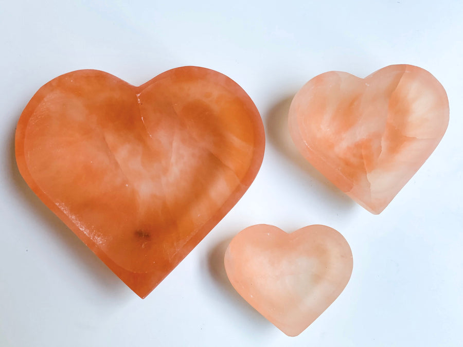 Peach Selenite Heart Bowl