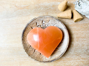Peach Selenite Hearts