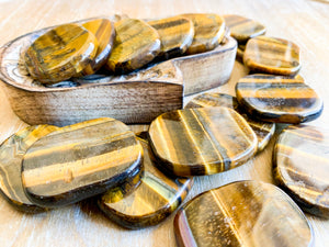 Tiger Eye Flat Palm Stone