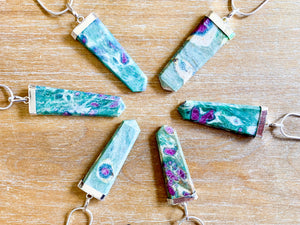 Ruby in Fuchsite Point Necklace