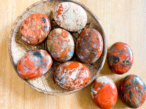 Red Brecciated Jasper Palm Stone